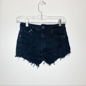 American Eagle Black Stretch Jean Shorts